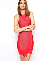 Ax Paris Wrap Bodycon Dress With Ripple Panels Coral
