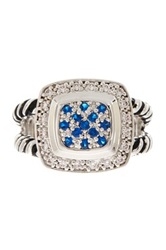 Tiered Simulated Diamond Pave Cz Double Shank Ring Blue