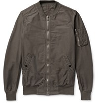 Rick Owens Cotton Blend Faille Bomber Jacket Gray