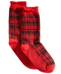 Hue Women's Solid Femme Top Sock Red Hot Plaid
