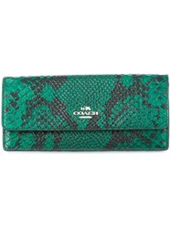 Coach Snakeskin Effect Wallet Green
