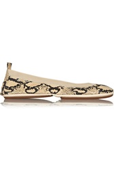 Yosi Samra Fold Up Snake Effect Leather Ballet Flats Nude