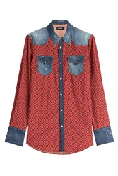 Dsquared2 Printed Cotton Shirt With Denim Red