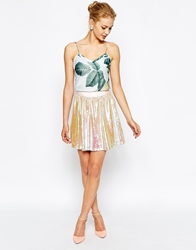 Ted Baker Skater Skirt With All Over Sequin Nudepink