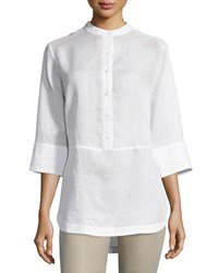 Neiman Marcus Linen 3 4 Sleeve Button Front Tunic White