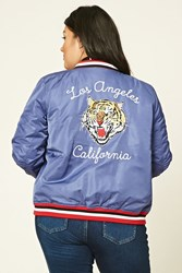 Forever 21 Plus Size California Bomber Navy White