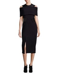 Yigal Azrouel Chevron Leather And Knit Cold Shoulder Dress Jet Black
