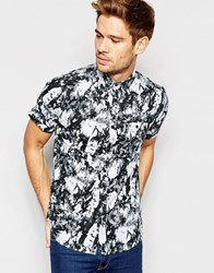 Brave Soul Marble Print Short Sleeve Shirt Black