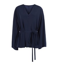 The Row Staram Silk Tunic Top Female Navy