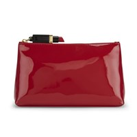 Lulu Guinness Women's T Seam Medium Zip Pouch Cosmetic Bag Red