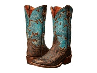 Dan Post Garden Party Chocolate Distressed Turquoise Cowboy Boots Brown
