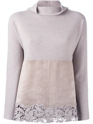 Fabiana Filippi Lace Detail Jumper Nude And Neutrals