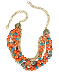 Inc International Concepts Gold Tone Turquoise And Coral Bead Torsade Necklace