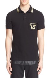 Versace Men's Jeans Embroidered Logo Pocket Polo