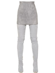 Balmain Vertical Seams Suede Mini Skirt