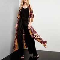 River Island Womens Brown Print Cold Shoulder Maxi Kimono