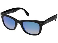 Ray Ban 0Rb4105 Folding Wayfarer 51Mm Black Blue Flash Gradient Fashion Sunglasses