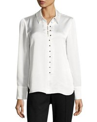 Laundry By Shelli Segal Satin Long Sleeve Button Up Blouse White