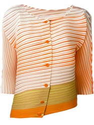 Issey Miyake Pleats Please By Pleated Effect Striped Blouse Yellow And Orange
