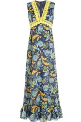 Anna Sui Pineapple Print Maxi Dress With Lace Crochet Trim Multicolor