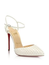 Christian Louboutin Spiked Patent Leather Slingback Pumps White