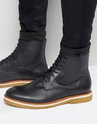 Zign Leather Crepe Sole Lace Up Boots Black