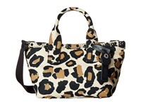 Marc By Marc Jacobs Leopard Embellished Canvas Small Tote Sandbox Multi Tote Handbags Animal Print