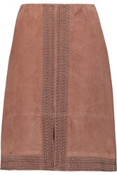 Elizabeth And James Riva Studded Suede Skirt Brown