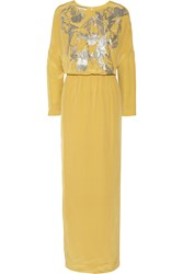 By Malene Birger Lidania Sequin Embellished Silk Satin Gown Yellow