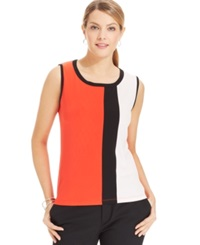 Jones New York Collection Petite Colorblock Sleeveless Shell Top