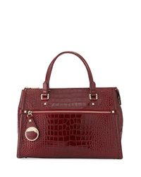 Class Roberto Cavalli Anais Large Croc Embossed Leather Satchel Bag Burgundy