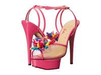 Charlotte Olympia Pomeline Barbie Pink Printed Cotton Patent