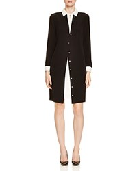 Magaschoni Signature Silk Layered Shirt Dress Black Blanc