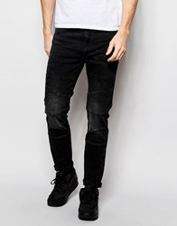 Pull And Bear Pullandbear Skinny Biker Jeans In Washed Black Black