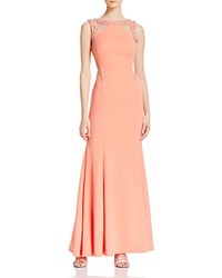 Decode 1.8 Embellished Illusion Cutout Gown Apricot