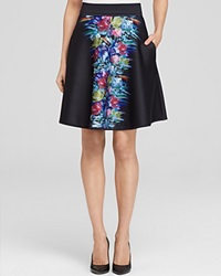 Cynthia Rowley A Line Skirt Bonded Blurred Floral Black Blurred Floral