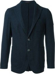 The Gigi Weave Effect Textured Single Breasted Blazer Blue