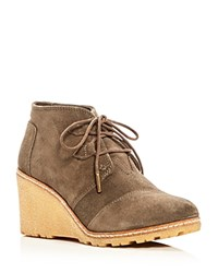 Toms Desert Wedge Lace Up Booties Tarmac Olive