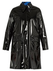 Maison Martin Margiela Reversible Pvc And Plaid Coat Black Blue