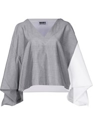 Issey Miyake Colour Block Cropped Blouse Grey