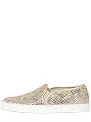 Hogan Rebel Snake Printed Leather Slip On Sneakers