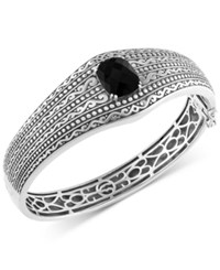 Effy Collection Eclipse By Effy Onyx 4 9 10 Ct. T.W. Decorative Hinged Bangle Bracelet In Sterling Silver
