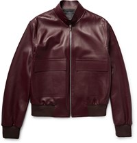 Paul Smith Leather Bomber Jacket Burgundy