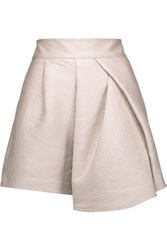 Tibi Corazon Draped Metallic Cloque Shorts Lilac