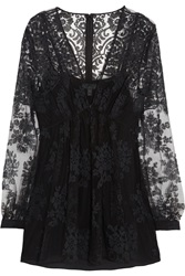 Burberry Floral Embroidered Tulle Top Black