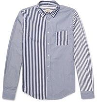 Wooster Lardini Wooter Button Down Collar Patchwork Cotton Hirt Navy