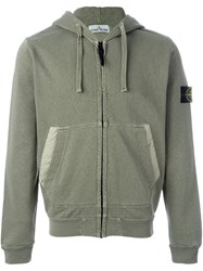 Stone Island Arm Patch Hoodie Green