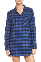 Make Model Women's Flannel Nightshirt Blue Dazzle Nikki Check