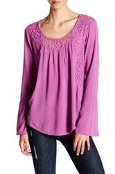 Love On A Hanger Lace Boho Woven Gauze Blouse Pink