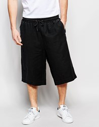 Asos Oversized Shorts In Linen Mix Black